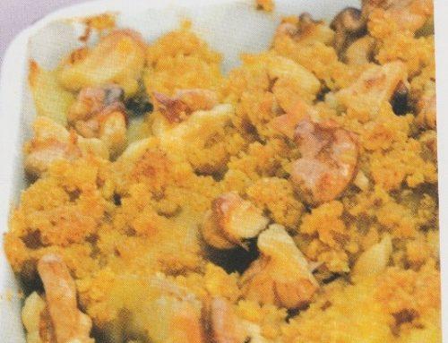 Crumble pomme, banane, noix, à la farine de maïs (sans gluten)