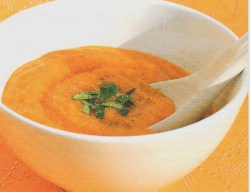 Velouté de potimarron au basilic et à la farine de soja (sans gluten)